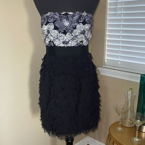 PHOEBE COUTURE STRAPLESS RUFFLED DRESS SZ 6